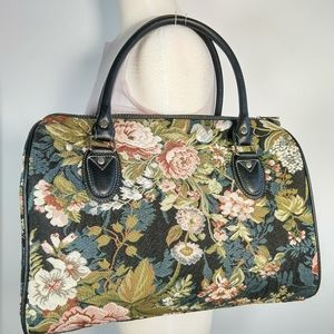 Signare tapestry & leather large satchel